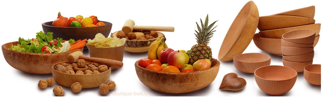 Objets en bois pour la déco, coupes à fruits et saladiers